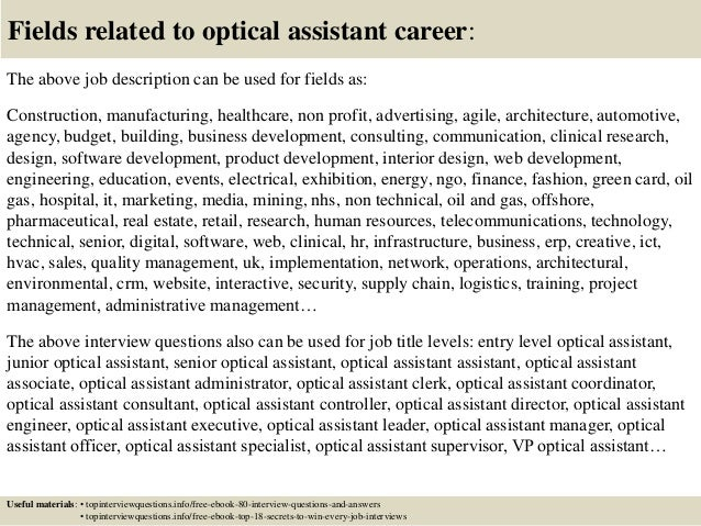 ... 17. Fields Related To Optical Assistant ...