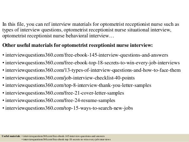 top 10 optometrist receptionist nurse interview questions and answers - Optometrist Cover Letter