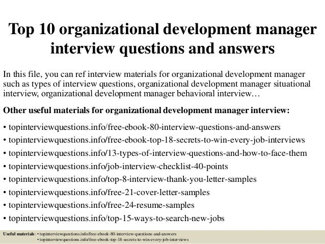 top 10 organizational development manager interview