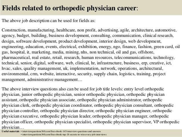 18 fields related to orthopedic orthopedic surgeon description