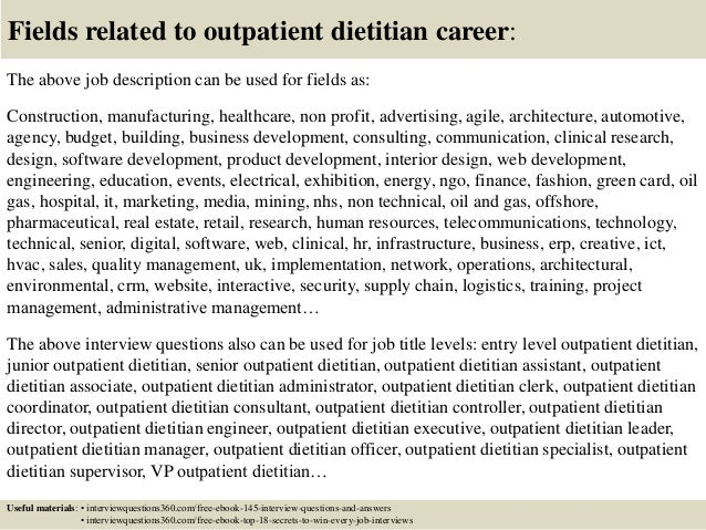 ... 18. Fields Related To Outpatient Dietitian Career: The Above Job  Description ...