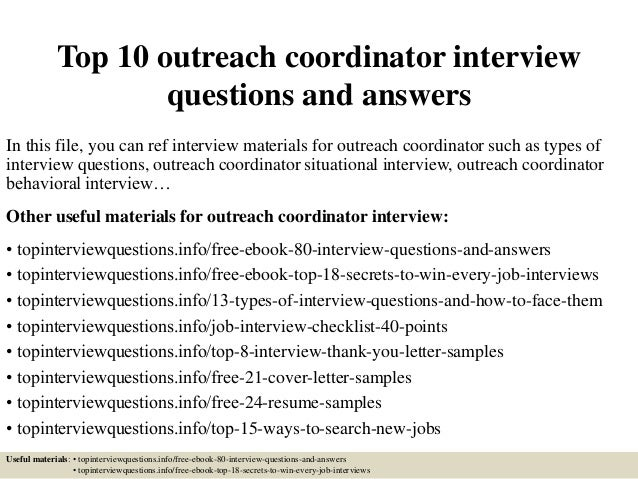top 10 outreach coordinator interview questions and answers