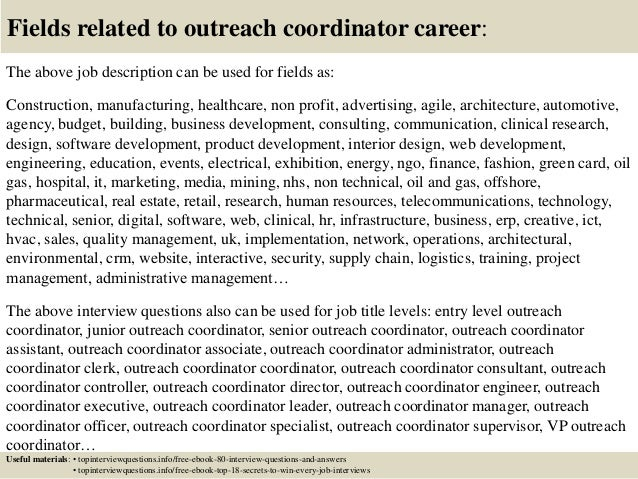 Education and outreach coordinator cover letter