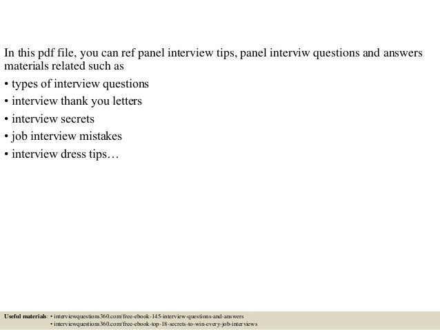 Thank You Letter After Panel Interview. Top 10 Panel Interview Questions  And Answers . Thank You Letter After Panel Interview