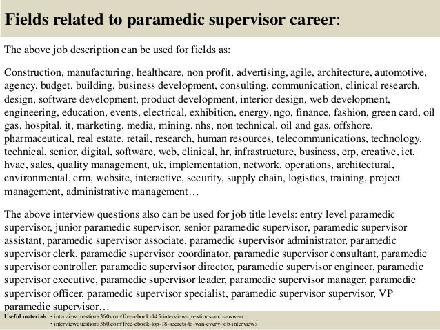Top 10 Paramedic Supervisor Interview Questions And Answers