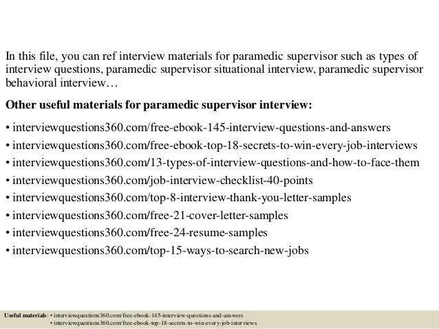 paramedic interview questions and answers pdf