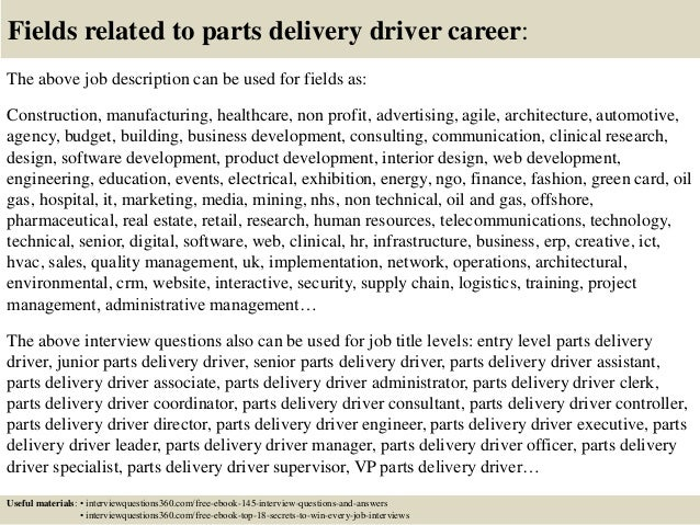 Top  Parts Delivery Driver Interview Questions And Answers