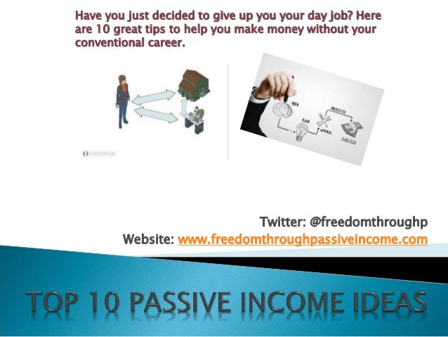 Twitter: @freedomthroughp Website: www.freedomthroughpassiveincome.com Have you just decided to give up you your day job? ...
