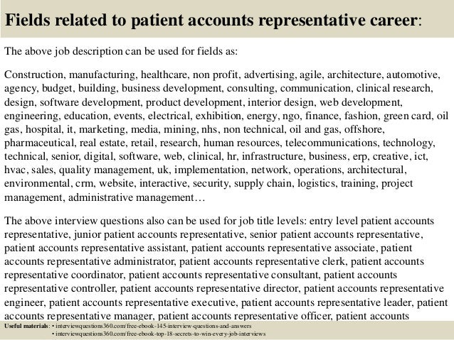 18 fields related to patient accounts representative career the above job description
