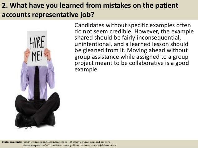 4 2 what have you learned from mistakes on the patient accounts representative job