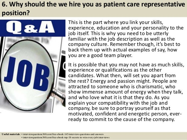 patient service representative interview questions