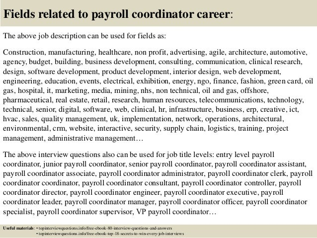 Top 10 Payroll Coordinator Interview Questions And Answers
