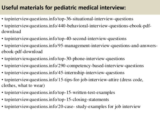 Top 10 pediatric medical interview questions and answers