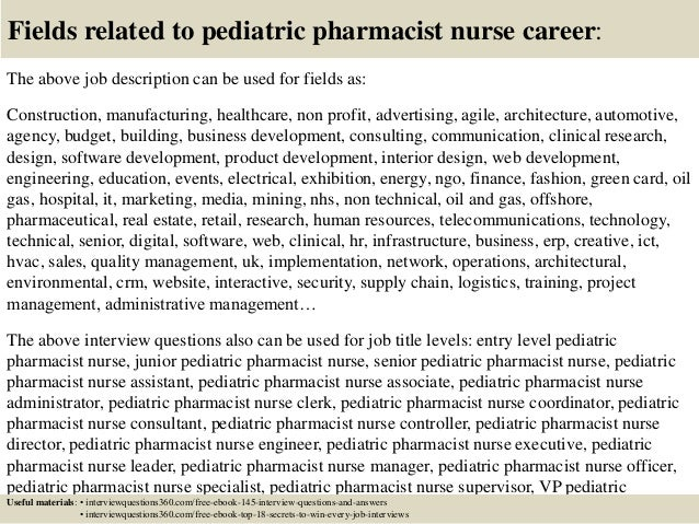 Top 10 pediatric pharmacist nurse interview questions and answers