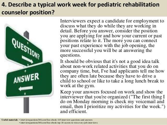 top 10 pediatric rehabilitation counselor interview