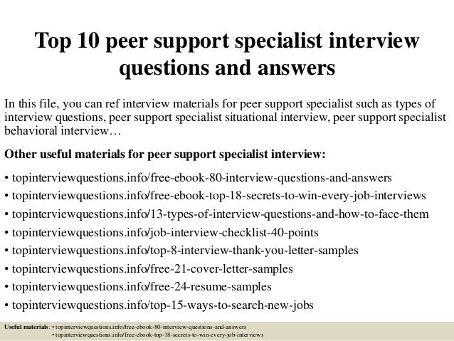 Top 10 peer support specialist interview questions and answers