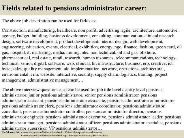 ... 18. Fields Related To Pensions Administrator ...