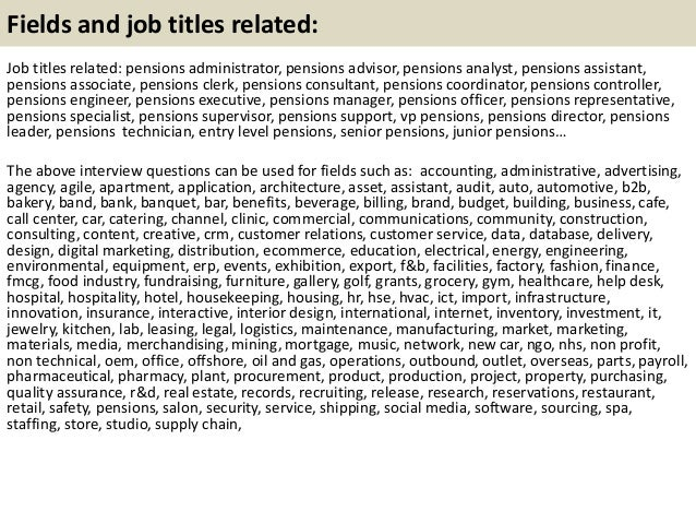 21 - Pensions Administration Sample Resume