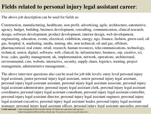Top 10 personal injury legal assistant interview questions and answers – Legal Assistant Job Description