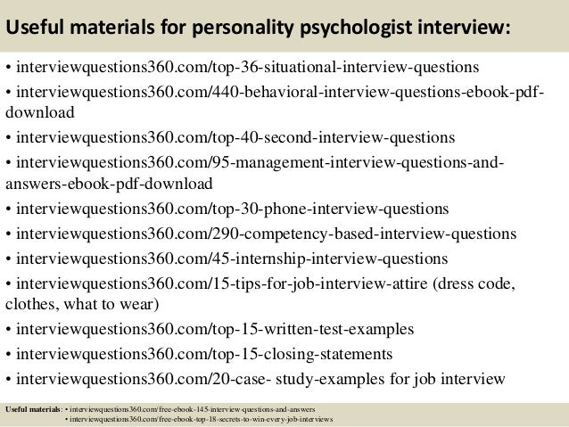 13 useful materials for personality psychologist interview