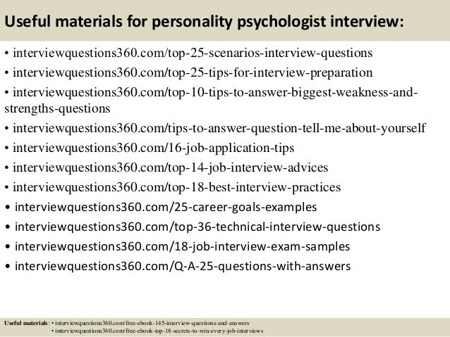 14 useful materials for personality psychologist interview