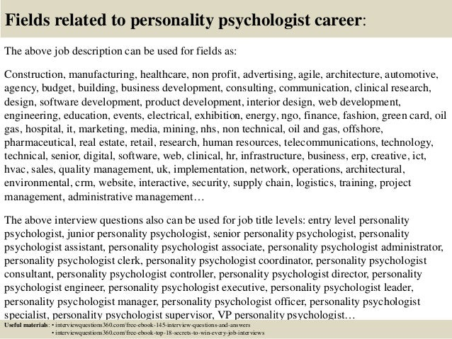 18 fields related to personality
