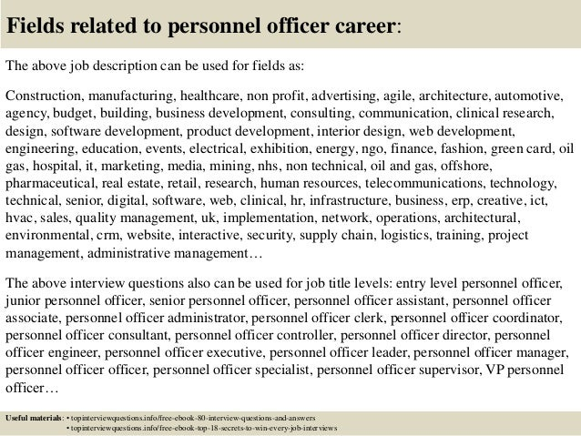 Top 10 personnel officer interview questions and answers