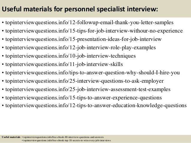 Top 10 personnel specialist interview questions and answers