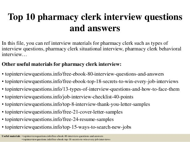 Top 10 Pharmacy Clerk Interview Questions And Answers
