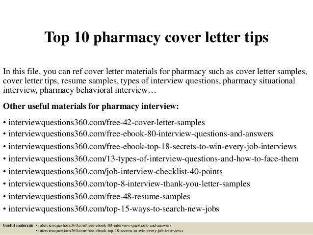 Cover Letter Pharmacy Technician