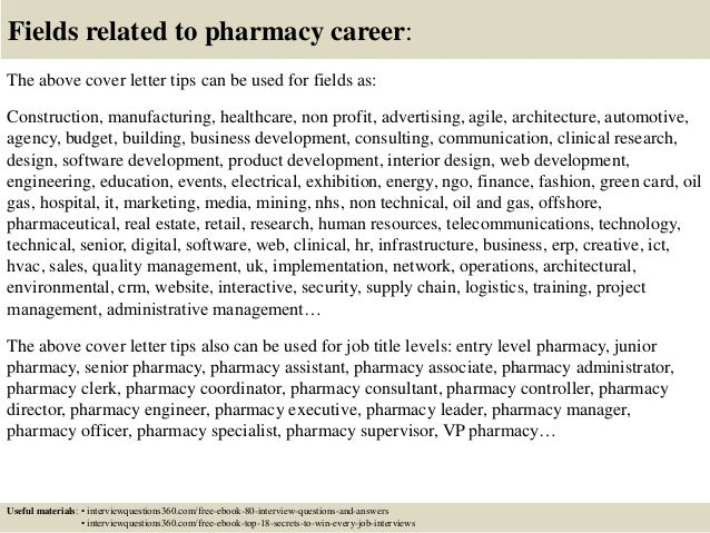 ... 16. Fields Related To Pharmacy Career: The Above Cover Letter ...