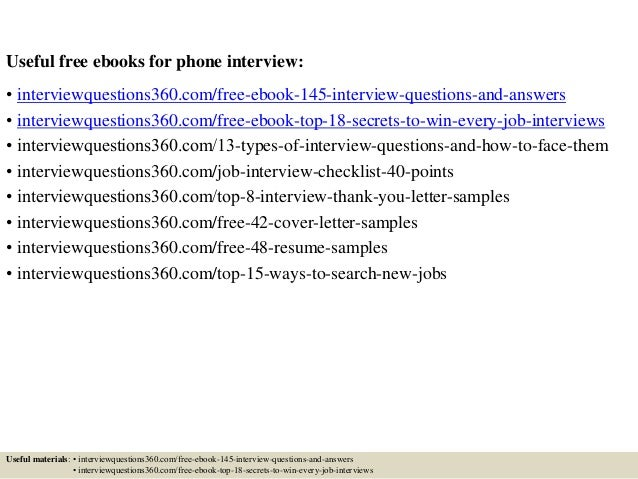 phone interview questions and answers examples