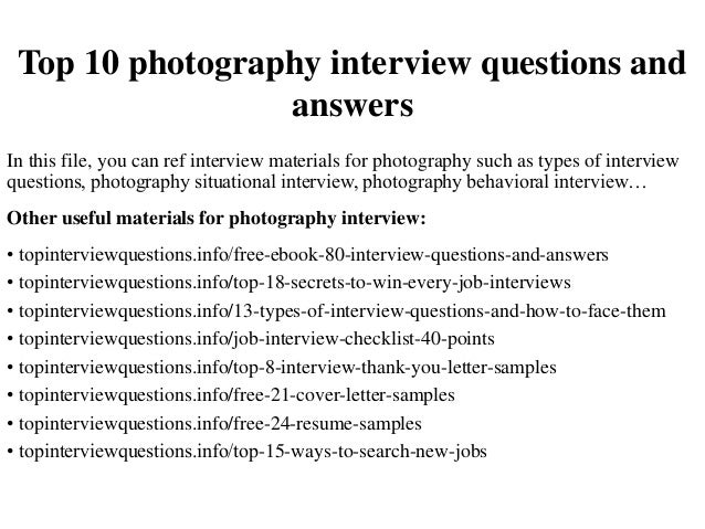 Top 10 Photography Interview Questions And Answers