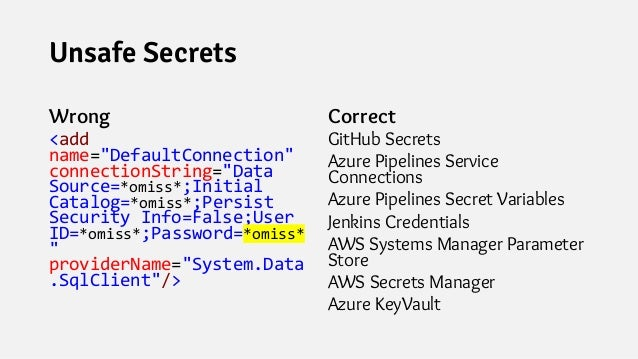 """Unsafe Secrets Wrong <add name=""""DefaultConnection"""" connectionString=""""Data Source=*omiss*;Initial Catalog=*omiss*;Persist S..."""