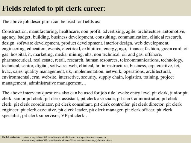 ... 18. Fields Related To Pit Clerk ...