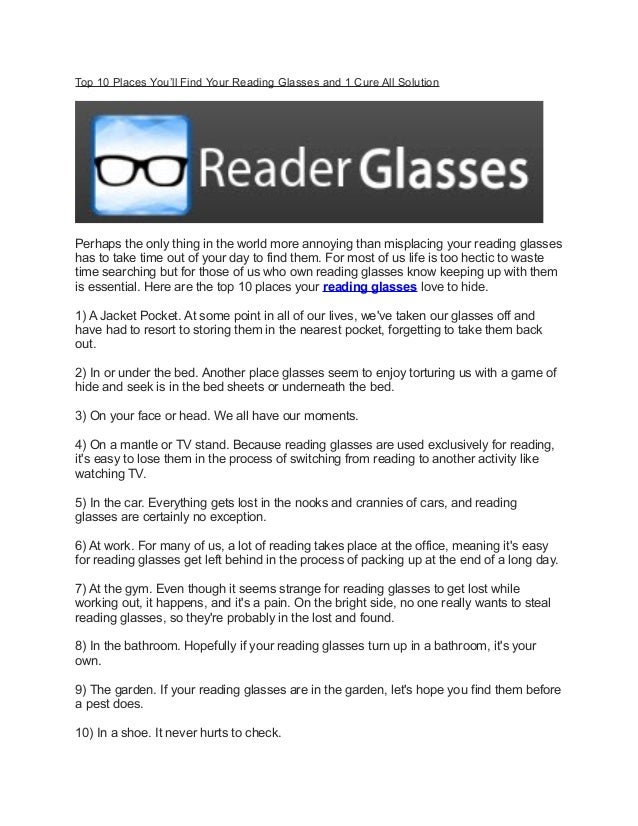 ddd27a21f14e Top 10 places you ll find your reading glasses and 1 cure all solution
