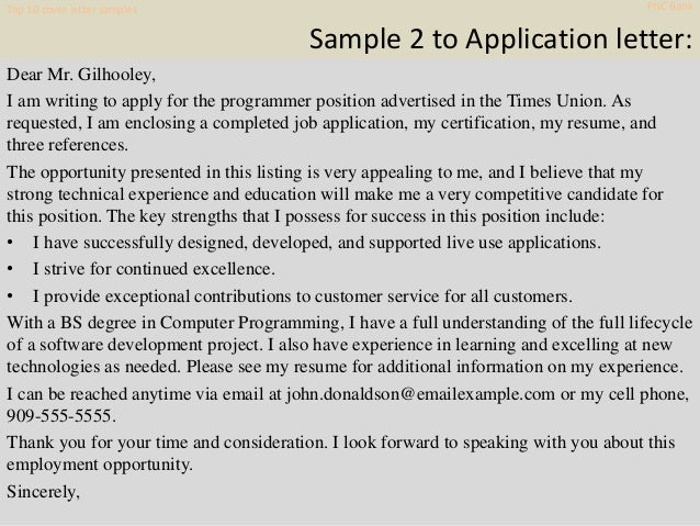 Top 10 pnc bank cover letter samples
