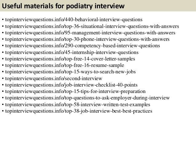 Top 10 podiatry interview questions with answers