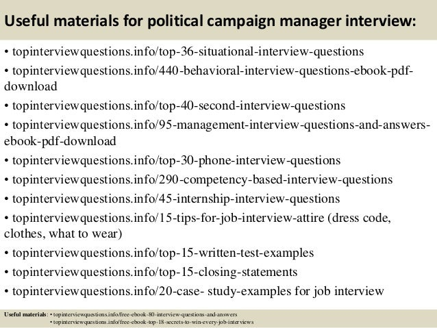 top 10 political campaign manager interview questions and