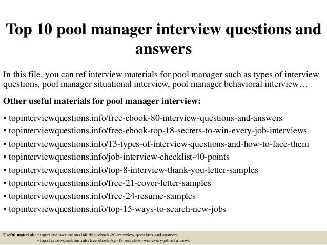 Awesome Top 10 Pool Manager Interview Questions And Answers In This File, You Can  Ref Interview ...