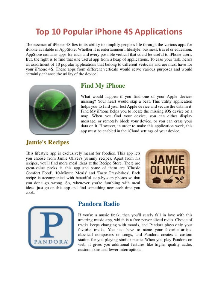 Top 10 Popular iPhone 4S ApplicationsThe essence of iPhone-4S lies in its ability to simplify peoples life through the var...