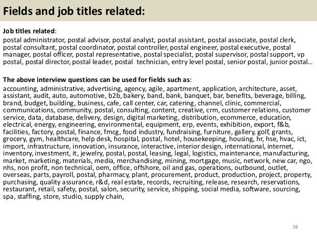Top 36 postal interview questions with answers pdf