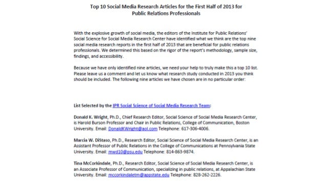 Top 10 Social Media Research Articles for the First Half of 2013