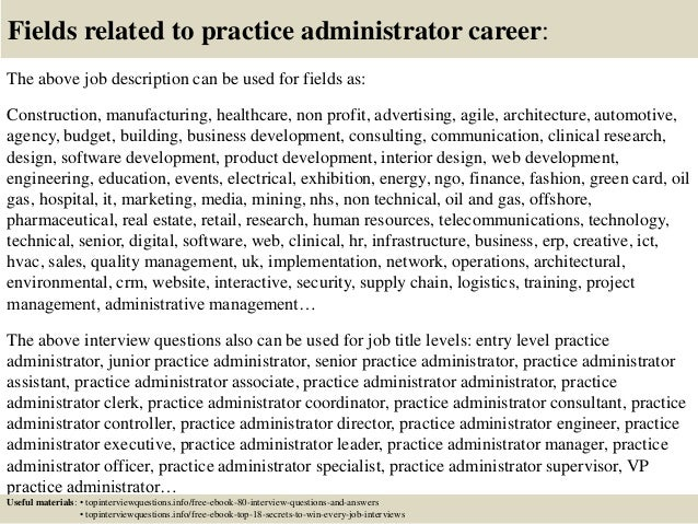 17 fields related to practice administrator career the above job description - Practice Director Job Description