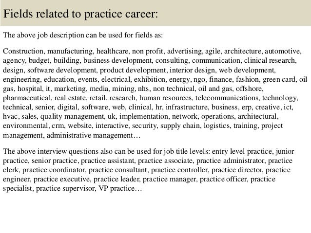 16 fields related to practice career the above job description