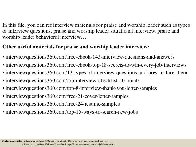 top 10 praise and worship leader interview questions and answers