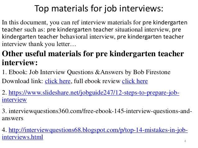 Pre Teacher Interview Questions | Top 32 Pre Kindergarten Teacher Interview Questions And Answers Pdf
