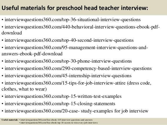 13 useful materials for preschool head teacher interview