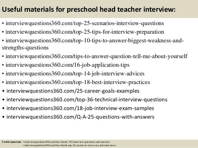 interview questions for a preschool teacher
