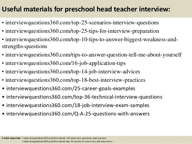 Top 10 preschool head teacher interview questions and answers